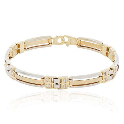Leronza 14k Two-Tone Solid Gold Bracelet