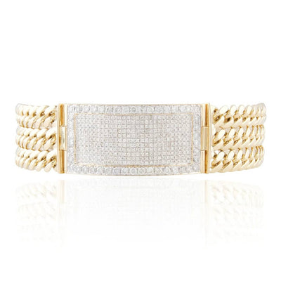 Leronza 10K Yellow Gold 7.00ct Diamond ID Bracelet