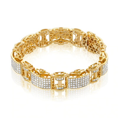 Leronza 10k Yellow Gold 13ct Diamond Statement Bracelet