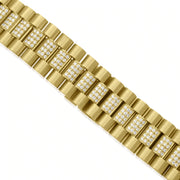 Leronza 14k Yellow Gold 7.25ct Diamond Watch Band Bracelet