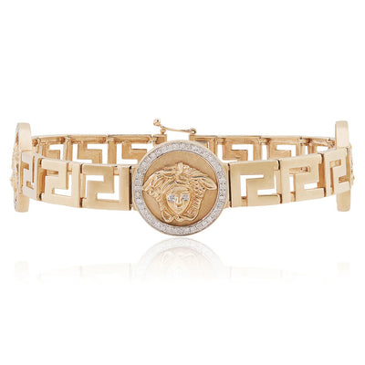 Leronza 10K Rose Gold 1ct Medusa Diamond Bracelet