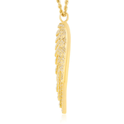 Leronza 14k Yellow Gold 1.5ct Angel Wing Pendant