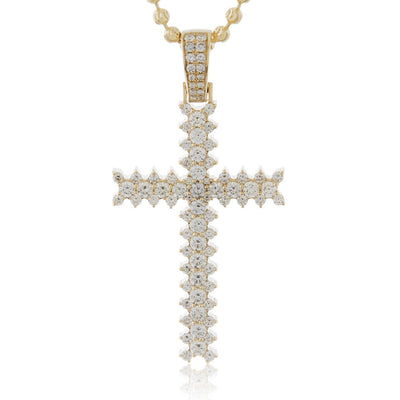 14k Yellow Gold 3.55ct Diamond Cross Pendant