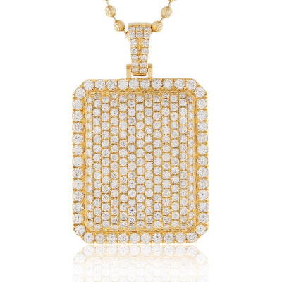 Leronza 14k Yellow Gold 6.45ct Diamond Dog Tag Pendant