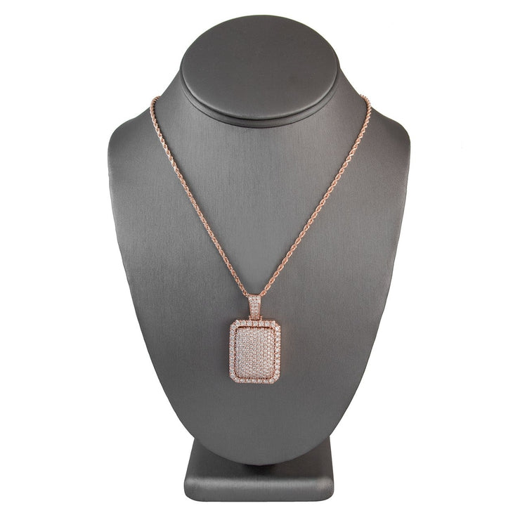 Leronza 14k Rose Gold 6.50ct Diamond Dog Tag Pendant