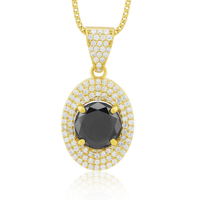 Leronza 14k Yellow Gold 29.5ct Black Diamond Pendant