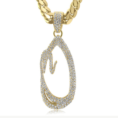 Leronza 10k Custom Yellow Gold Large Diamond Initial Pendant