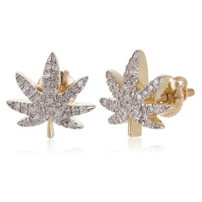 Leronza 10k Yellow Gold .25ct Diamond Hemp Leaf Stud Earrings