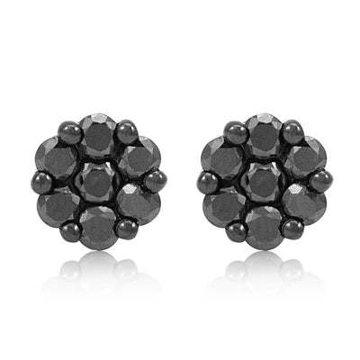 Leronza 10k Black Gold 1.30ct Black Diamond Studs