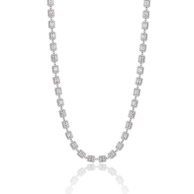Leronza 14k White Gold 14.02ct Diamond Baguette Necklace