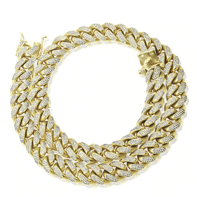 10k Yellow Gold XL 47ct Diamond Miami Cuban Link Chain 32in
