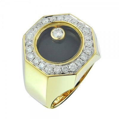 Leronza 10k Yellow Gold 3.60ct Diamond Black Enamel Ring