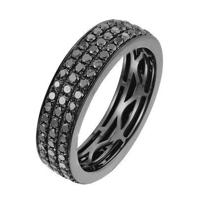 Leronza 10k Black Gold 2.85ct Black Diamond Wedding Band