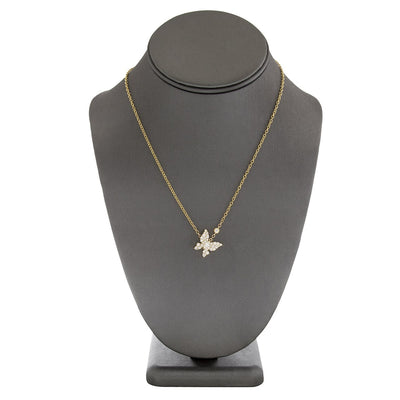 Leronza 18k Yellow Gold 1.14ct Diamond Butterfly Necklace