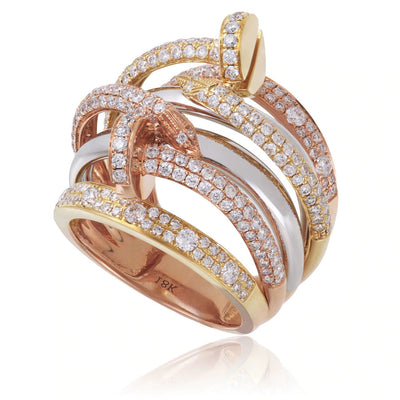 Leronza 18K Gold Tri-Color 2.11ct Diamond Ring