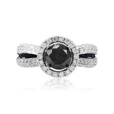 Leronza 10k Black Gold 3.05ct Black Diamond Ring
