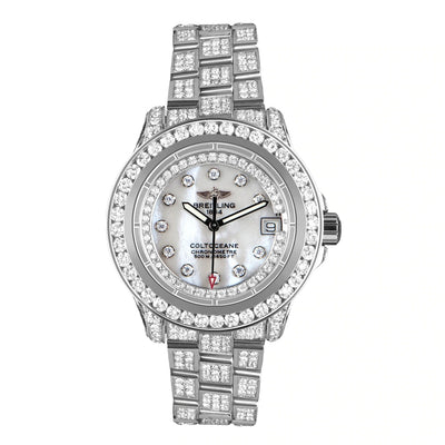 Leronza Breitling Colt Ocean Mother of Pearl Stainless Steel 13.5ct Diamond Watch