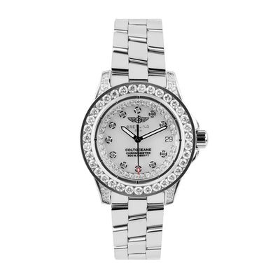 Leronza Breitling Colt Ocean Stainless Steel 2.5ct Diamond Womens Watch
