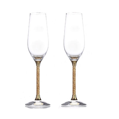 Leronza Luxury 24K Gold Crystal Champagne Flute