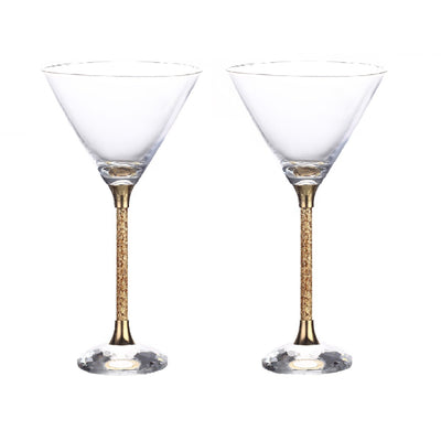 Leronza Luxury 24K Gold Crystal Cocktail Glasses