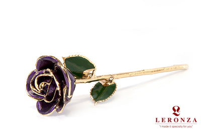 Leronza 24k Gold-Dipped Natural Purple Rose - Leronza