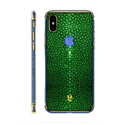 24k Gold Brilliance Exotic Green Stingray Skin  iPhone Xs and Xs Max