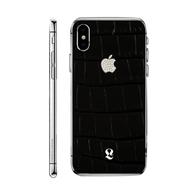 Platinum Exotic Black Crocodile Skin with Swarovski  iPhone Xs and Xs Max