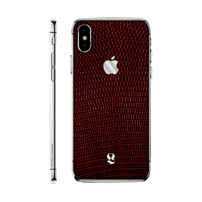 Platinum Exotic Red Lizard Skin  iPhone Xs and Xs Max