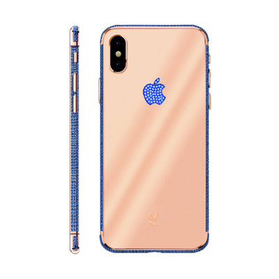 Rose Gold Blue Swarovski Brillliance  iPhone Xs and Xs Max