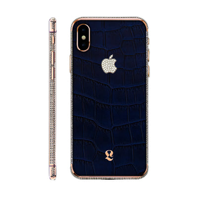 Rose Gold Brilliance Exotic Blue Crocodile Skin  iPhone Xs and Xs Max