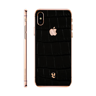 Rose Gold  Exotic Black Crocodile Skin  iPhone Xs and Xs Max