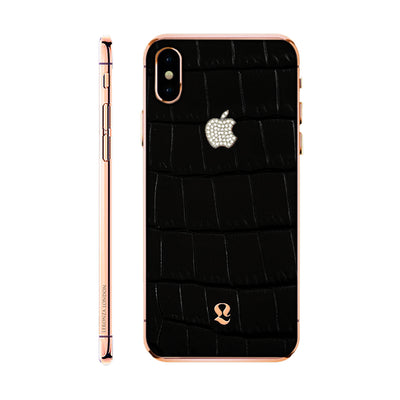 Rose Gold  Exotic Black Crocodile Skin with Swarovski  iPhone Xs and Xs Max