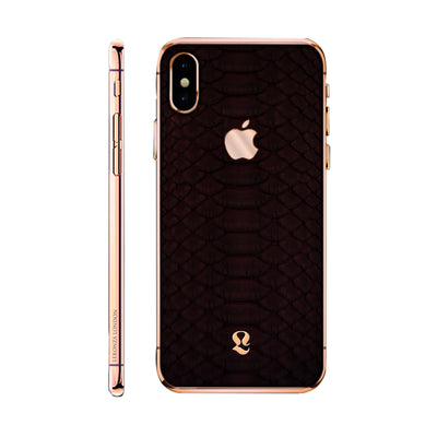 Rose Gold Exotic Burgundy Phyton Skin  iPhone Xs and Xs Max
