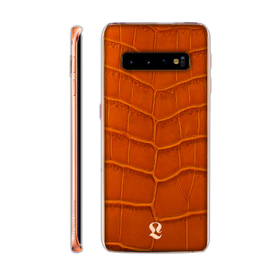 Rose Gold Exotic Cognac Crocodile Skin  Samsung S10 & S10 Plus