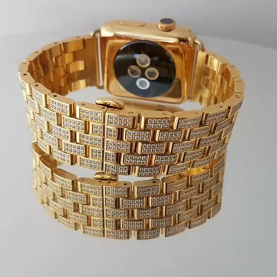 Leronza Luxury 18k Solid Gold Apple Watch4 Supernova