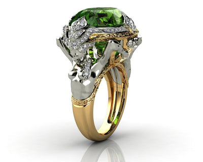 Leronza Green Emerald Men's Ring with Natural Diamonds