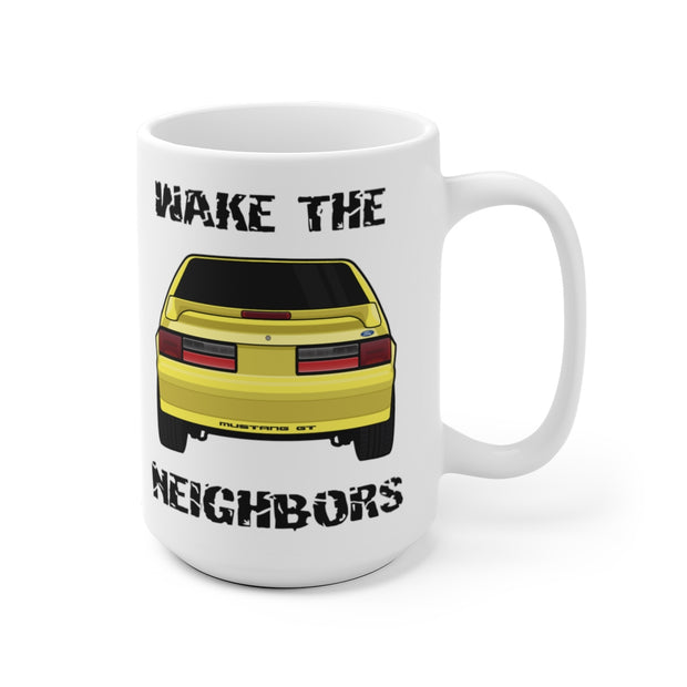 87-93 Yellow Hatchback Wake The Neighbors Mug (Original) - 5ohNation