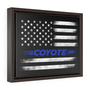 American Flag Coyote Premium Gallery Wrap Canvas (Blue) - 5ohNation
