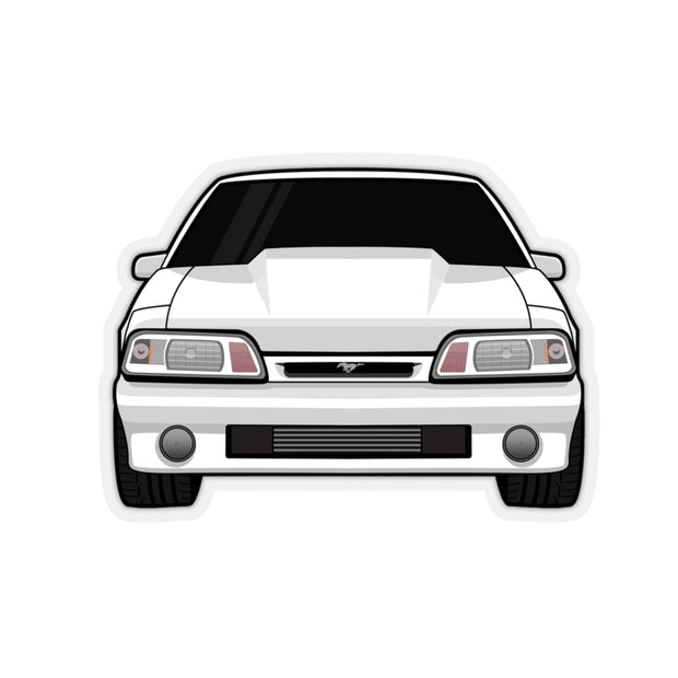 87-93 Foxbody White Sticker (Front) - 5ohNation