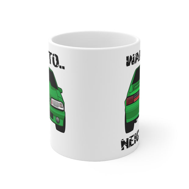 87-93 Green Hatchback Wake The Neighbors Mug (Original) - 5ohNation