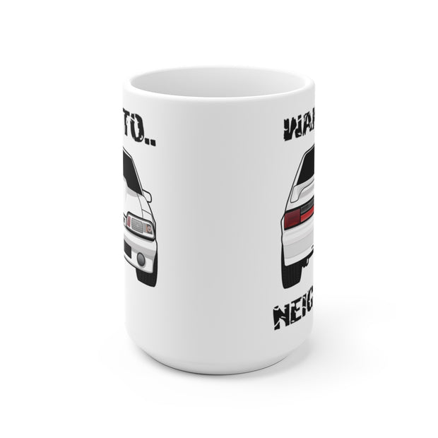 87-93 White Hatchback Wake The Neighbors Mug (Original) - 5ohNation