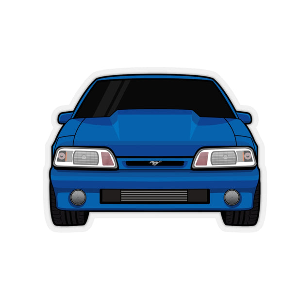 87-93 Foxbody Blue Sticker (Front) - 5ohNation