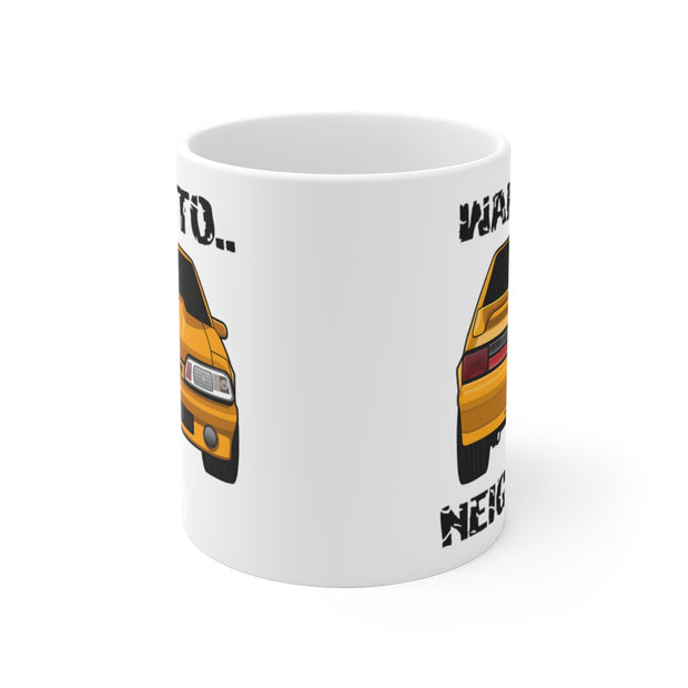 87-93 Orange Hatchback Wake The Neighbors Mug (Original) - 5ohNation