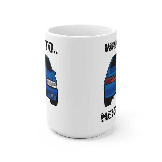 87-93 Blue Hatchback Wake The Neighbors Mug (Original) - 5ohNation