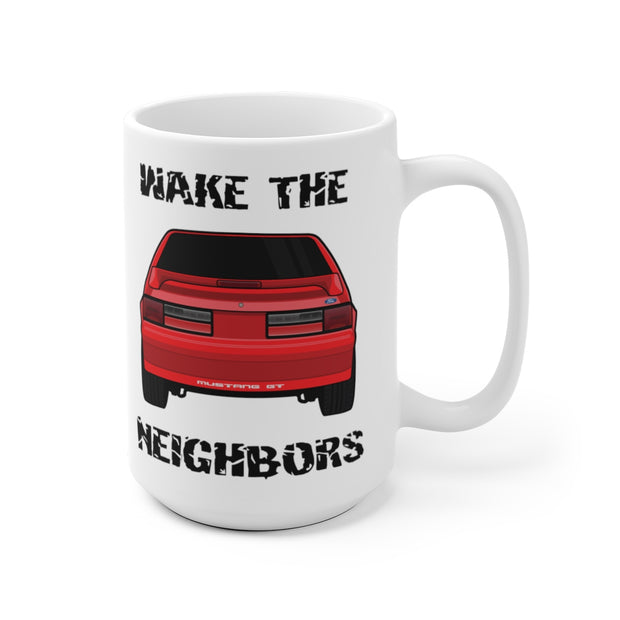87-93 Red Hatchback Wake The Neighbors Mug (Original) - 5ohNation