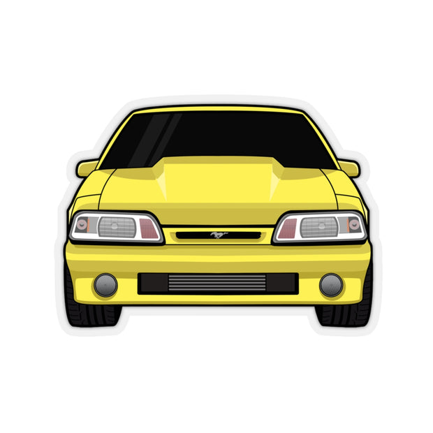 87-93 Yellow Foxbody Sticker (Front) - 5ohNation