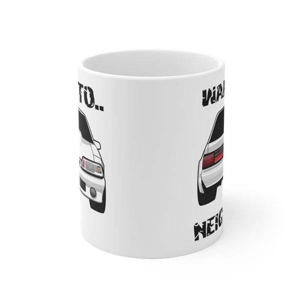 87-93 White Notchback Wake The Neighbors Mug (Original) - 5ohNation