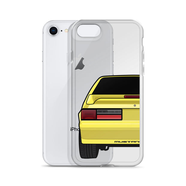 87-93 Yellow Hatchback iPhone Case (Rear) - 5ohNation
