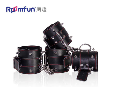 Roomfun Adjustable Leather Wrist and Ankle Bondage with studs