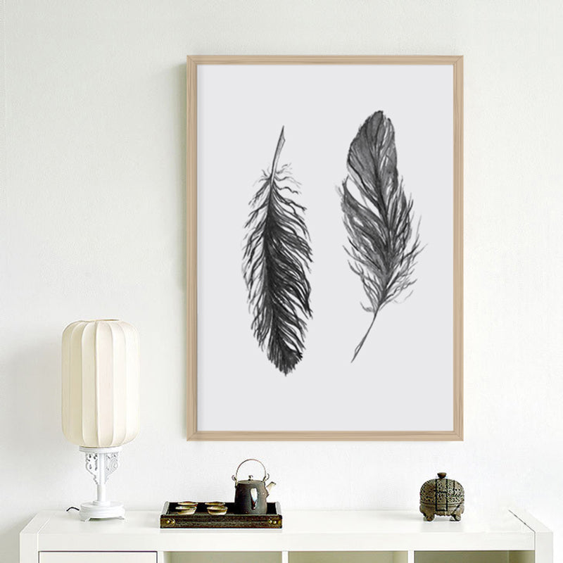 BLACK FEATHER ART PRINT